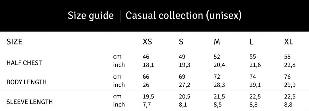 LFC_casual unisex size guide