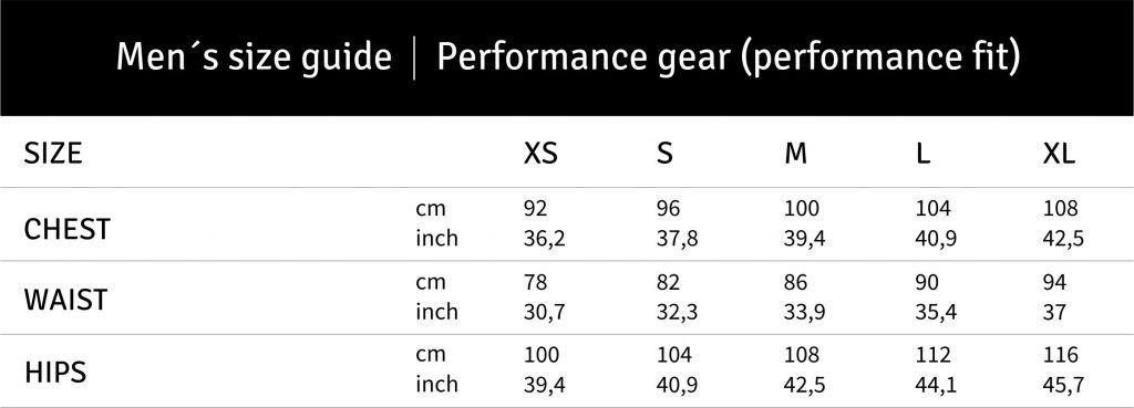 LFC_size guide men performance fit