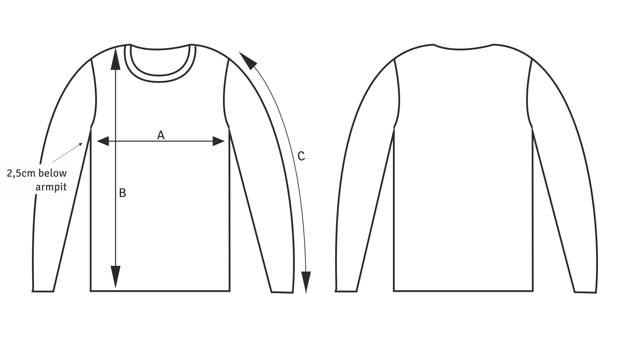 LFC_casual sweater size guide drawing